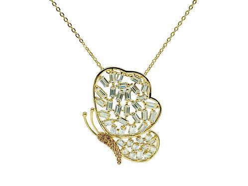 Sparkling Baguette Golden Butterfly Necklace