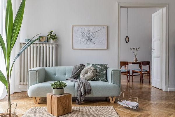 Stylish scandinavian living room and din