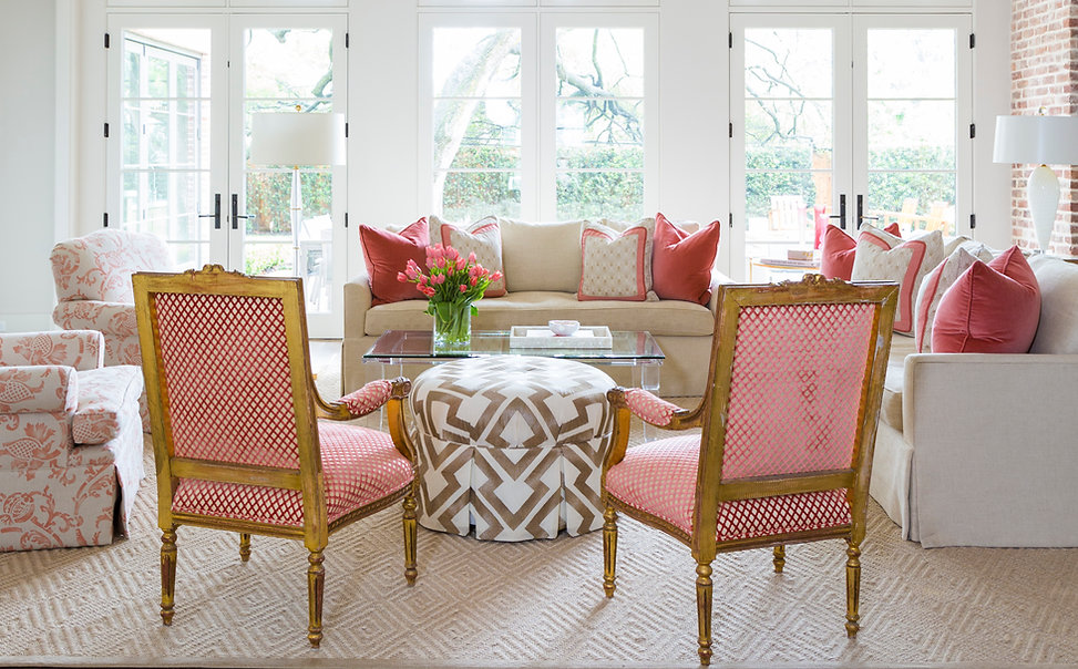 coral and gold antique chairs