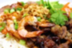 Vietnamese lemongrass pork, grilled prawns on vermicelli