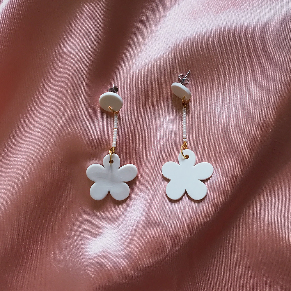 Florencia Porcelain Stud Flower Earrings white with hanging pearlescent glass beads Handmade Bridal