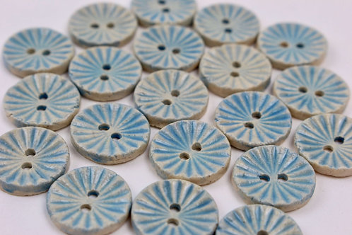 Christina Goodall Ceramics Handmade buttons made of ceramic in blue in a traditional cut design