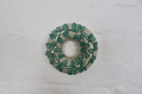 Christina Goodall Ceramics Handmade pottery Ring vase hanging wall ornament Piped leaves leaf vines in green Torquay Pottery