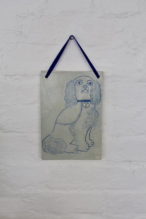 Christina Goodall Ceramics Staffordshire dog spaniel Handmade tile plaque hanging ornament interior design velvet ribbon