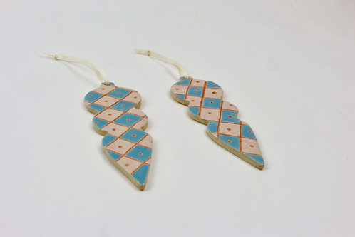 Handmade Ceramic Christmas ornaments check pink and blue baubles