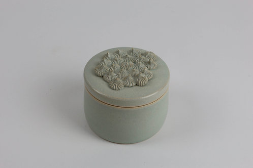 Torquay Pottery Christina Goodall Ceramics Handmade pottery jar for jewellery piped in green girl's woman's her gift