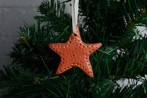 Christina Goodall Ceramics Cute orange ceramic Starfish Christmas ornament decoration