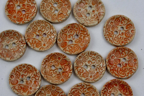 Flower pattern Buttons in orange made from ceramic for craft and knitted projects