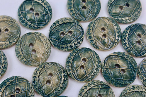 Christina Goodall Ceramics Buttons handmade ceramic in green for coats and knitting projects
