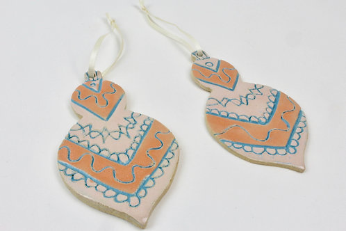 Handmade ceramic Christmas ornaments baubles orange pink blue