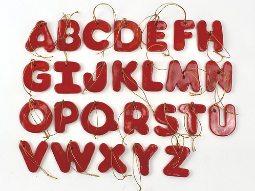 Christina Goodall Ceramics Ceramic monogram letters initials in red hanging ornament Uppercase thick Christmas decorations