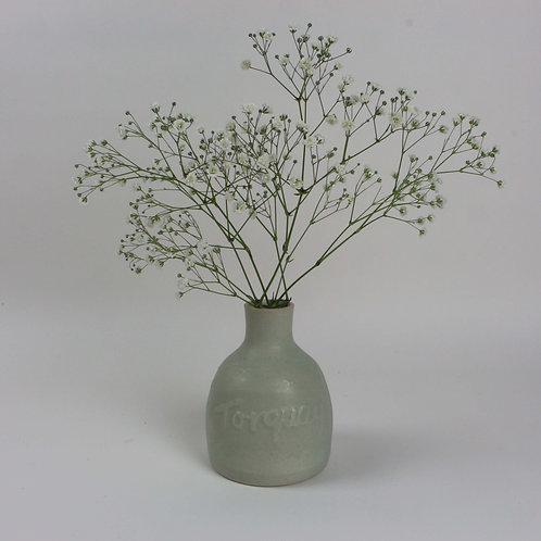 Christina Goodall Ceramics Etched pottery Torquay in green glaze vase