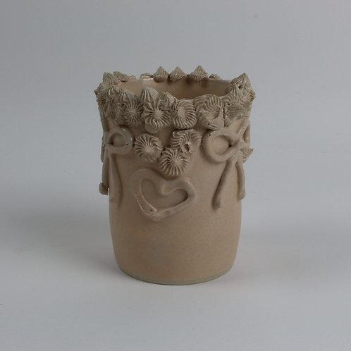 Torquay Pottery Christina Goodall Ceramics Handmade pottery peach bows hearts girl's woman's her gift