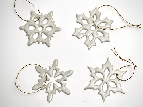 Handmade ceramics Snowflakes Christmas ornaments white traditional set