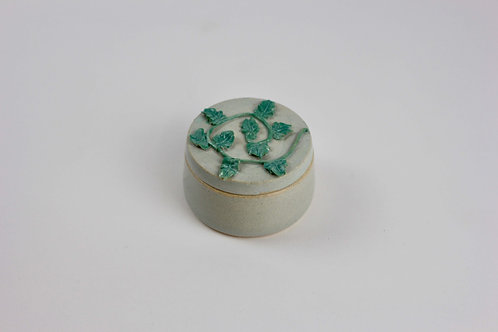 Christina Goodall Ceramics Handmade pottery jar for jewellery piped leaves and vines in green girl's woman's her gift