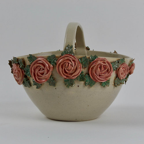 basket Handmade pottery Torquay piped roses pink green