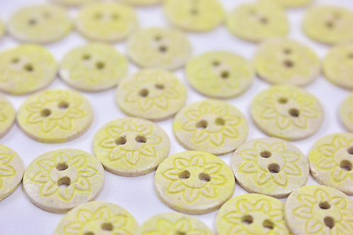 Christina Goodall Ceramics Yellow Ceramic sun buttons 2 hole kids clothes for knitters crafts