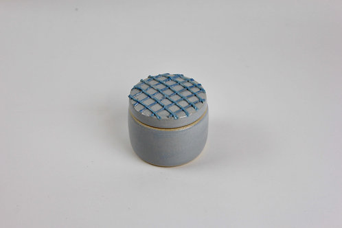 Christina Goodall Ceramics Handmade pottery jar for jewellery piped blue weave criss cross girl's woman's her gift