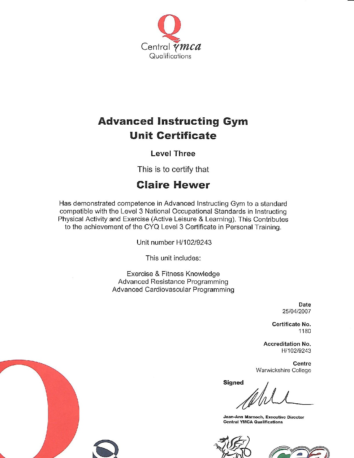 Level-3-Advanced-gym-instructor-CERT-2007-001