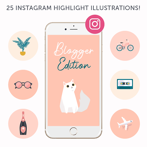 25 Illustrated Instagram Highlight Covers - Blogger Edition