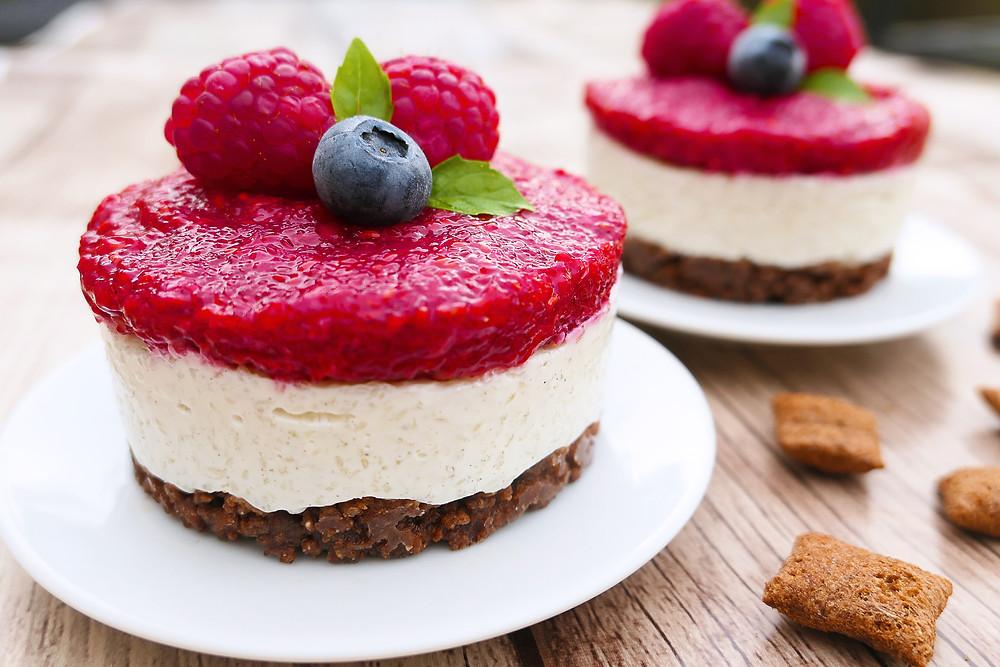 cheesecake leger au fromage blanc et framboise sans cuisson psyllium