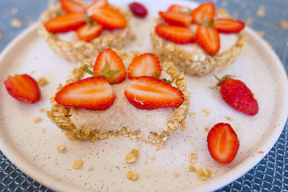tartelettes crues noisettes et fraises psyllium
