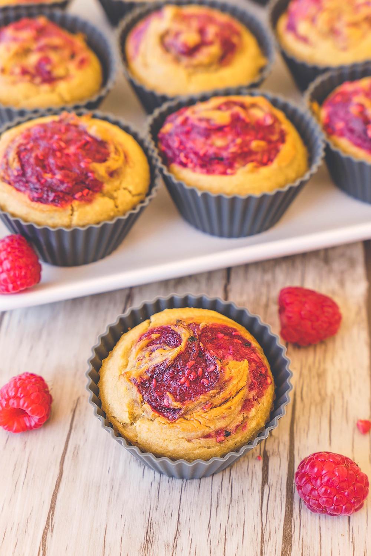 muffins beurre de cacahuète confiture de framboise sans gluten recette psyllium blond