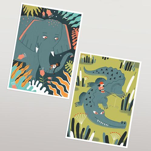 2 Postales Elefanta y Cocodrilo- GIRLS&ANIMALS