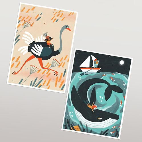 2 Postales Avestuz y Ballena- GIRLS&ANIMALS