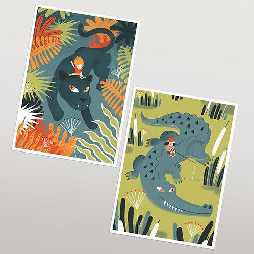 2 Postales Cocodrilo y Pantera- GIRLS&ANIMAL
