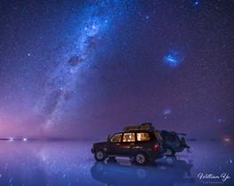 Milky Way over salt flat of Uyuni