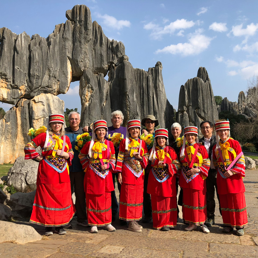 Group image at Stone Forest, Kunming, Yunnan province, China.