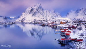 Snowy reflection at Reine