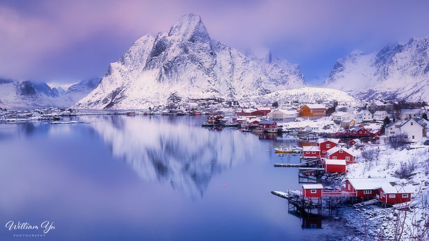 Snowy reflection at Reine, Norway