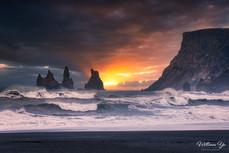 Sunset over Reynisdrangar sea stacks