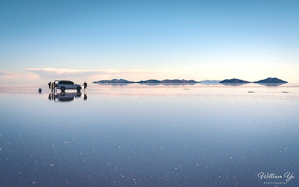The mirror-like surface of Uyuni
