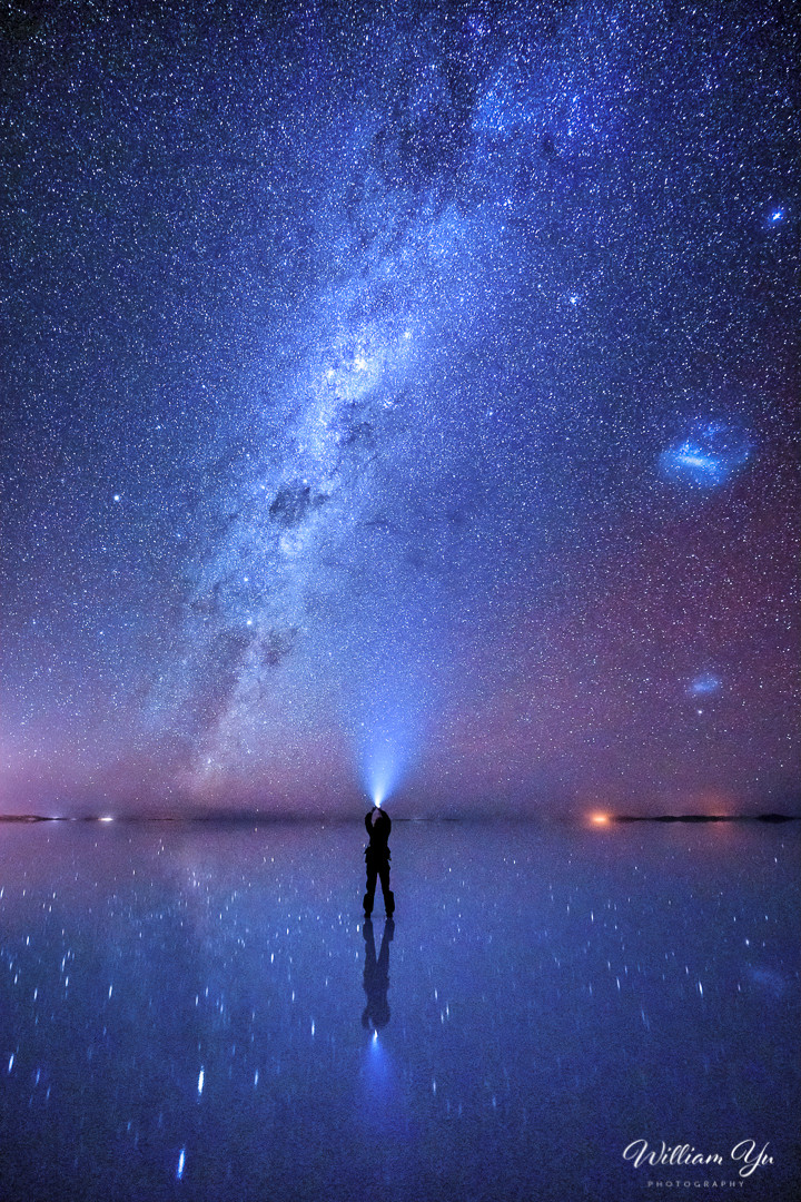 Milky Way and starry reflections on Uyuni