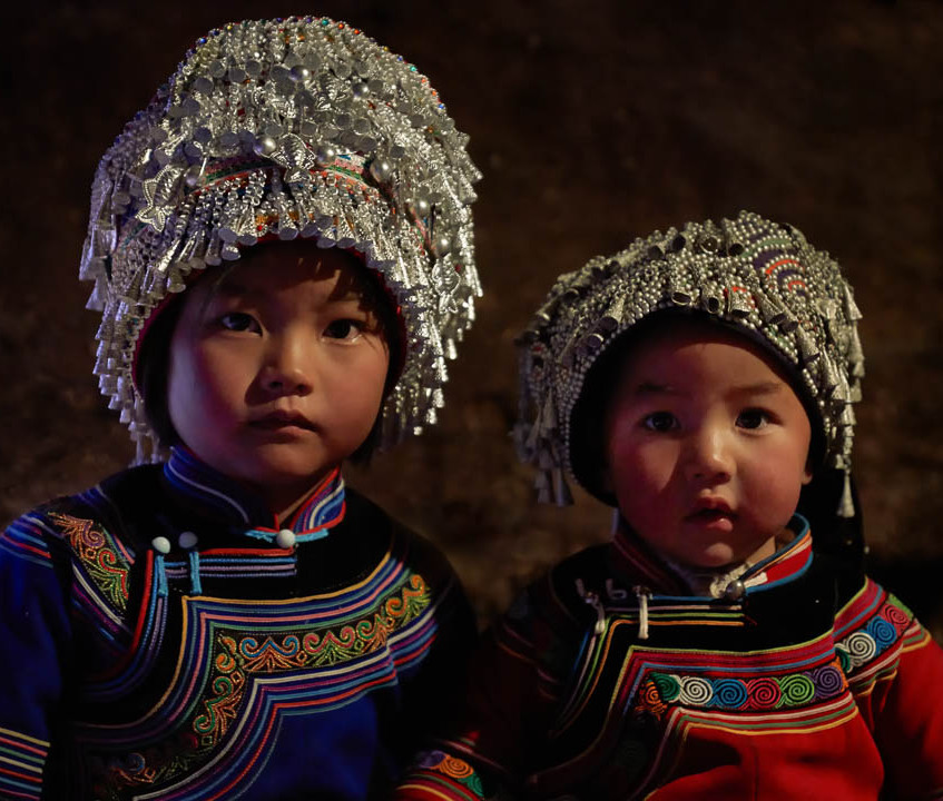 Sisters of Hani ethnic minority, Yuanyang, Yunnan province, China.