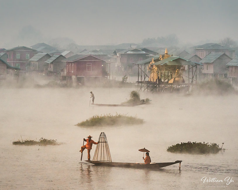Morning mist over Inle Lake