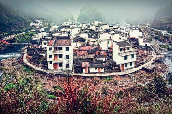 A horse-sho shaped village in Wuyuan