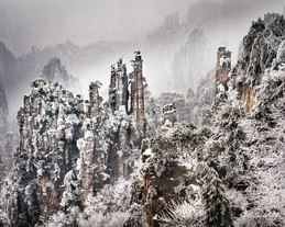 Snow covered pillars