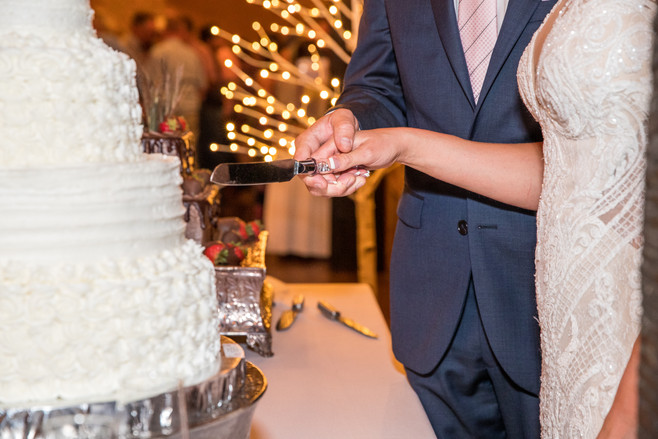 A great photo of a bride and groom cutting their first slice of cake!