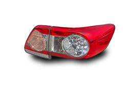 Car tail lights separate from white background