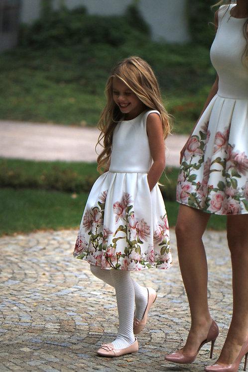 Kleid aus Neopren mit Rundhalsausschnitt und Blumenprint