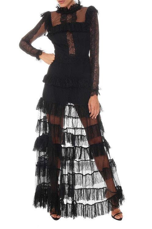 Langes Kleid aus Tüll mit Rüschen