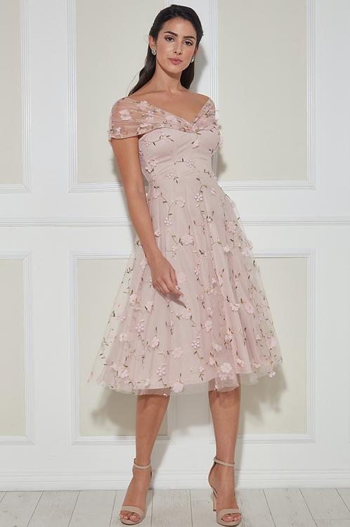 3D Blumen Midi-Kleid mit Bardot-Ärmeln