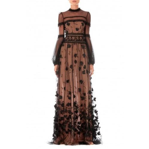 Langes Kleid aus Tüll und floraler 3D Spitze