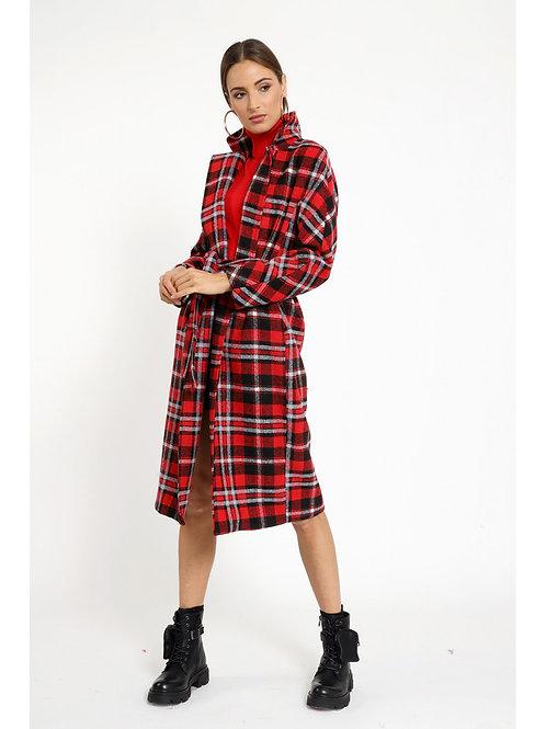 Mantel mit Schottenkaro und Gürtel