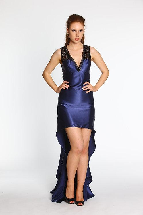 Vokuhila Kleid mit Spitze und Schleppe