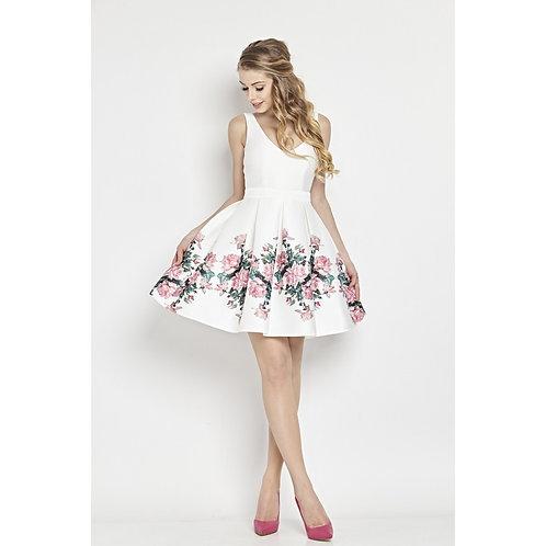 Kleid aus Neopren mit V - Ausschnitt und tiefem Rückenausschnitt